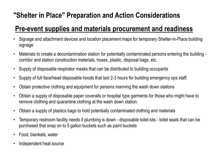 """Shelter in Place"" Preparation and Action Considerations"