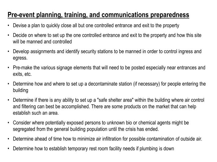 Pre-event planning, training, and communications preparedness