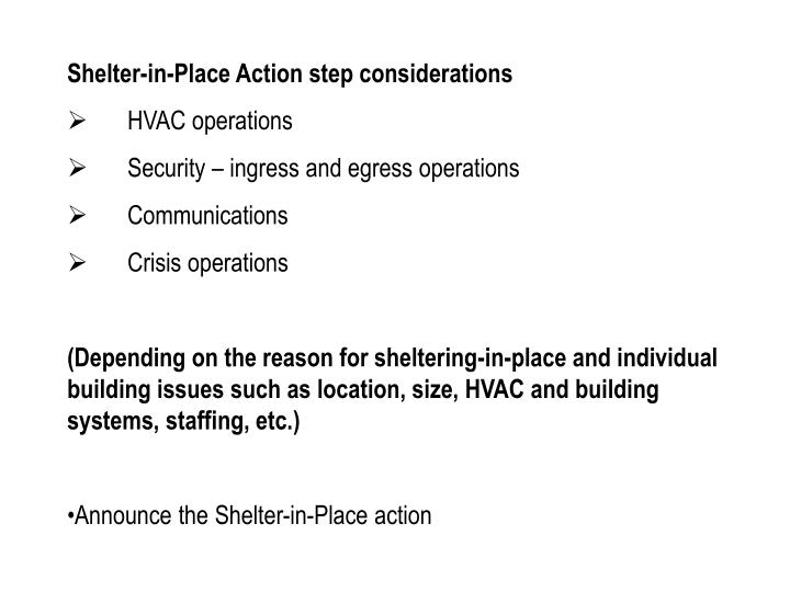 Shelter-in-Place Action step considerations