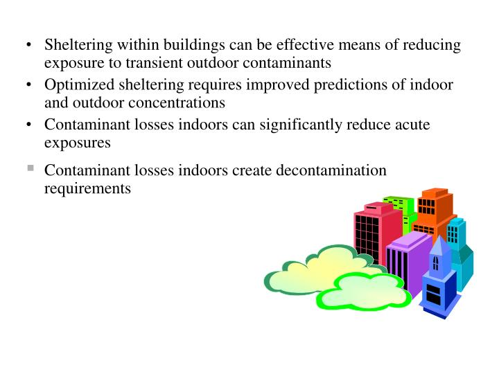 Sheltering within buildings can be effective means of reducing exposure to transient outdoor contaminants