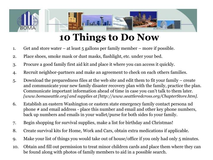 10 Things to Do Now