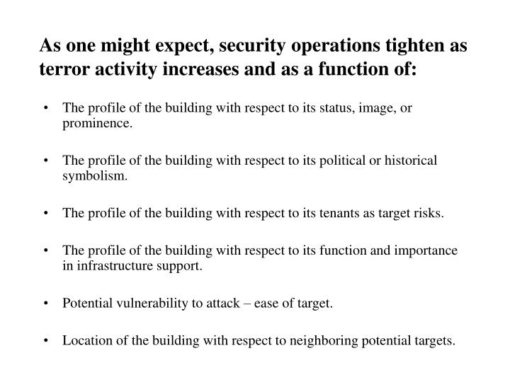 As one might expect, security operations tighten as terror activity increases and as a function of: