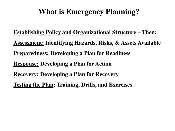 What is Emergency Planning?