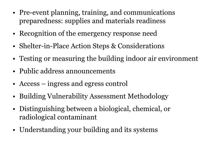 Pre-event planning, training, and communications preparedness: supplies and materials readiness