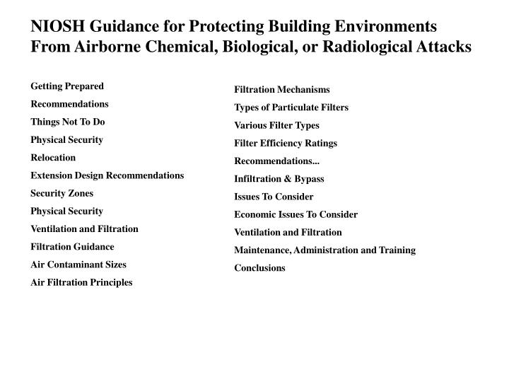 NIOSH Guidance for Protecting Building Environments From Airborne Chemical, Biological, or Radiological Attacks
