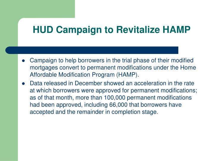 HUD Campaign to Revitalize HAMP