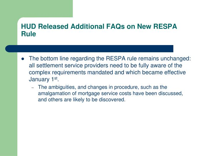 HUD Released Additional FAQs on New RESPA Rule