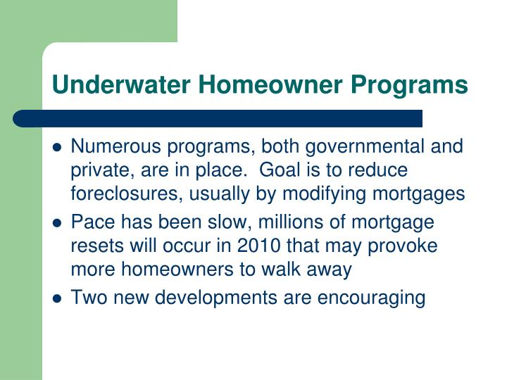 Underwater Homeowner Programs