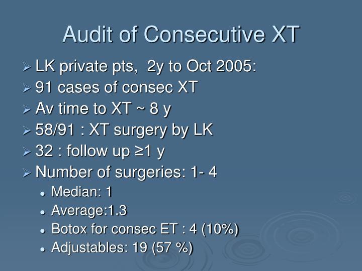 Audit of Consecutive XT