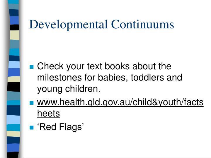Developmental Continuums