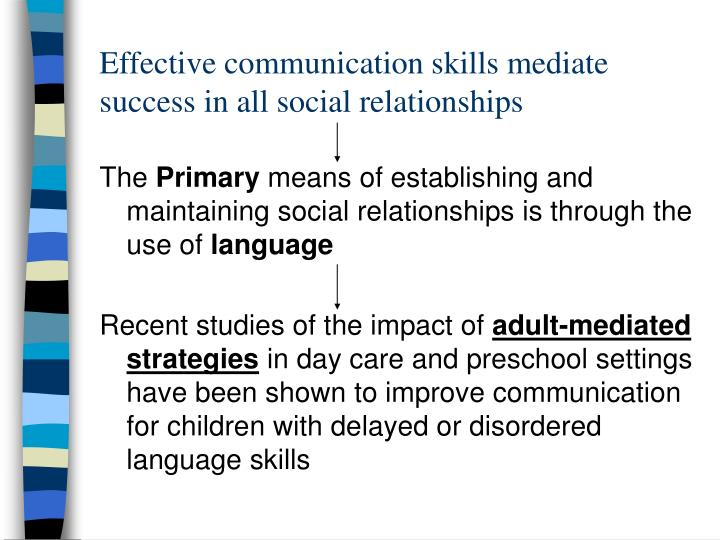 Effective communication skills mediate success in all social relationships