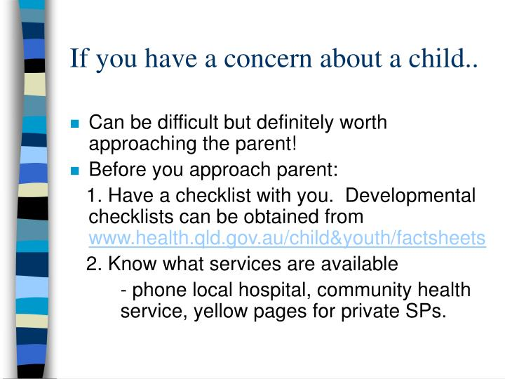 If you have a concern about a child..