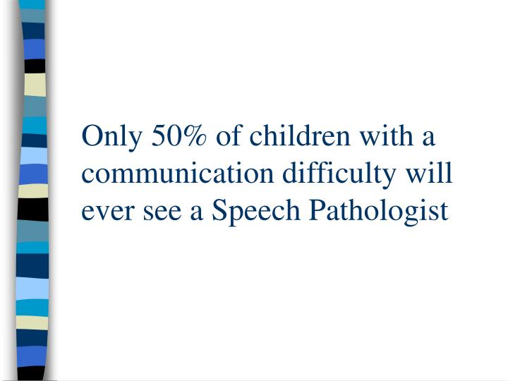 Only 50% of children with a communication difficulty will ever see a Speech Pathologist
