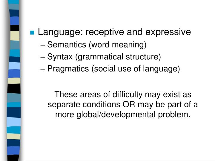 Language: receptive and expressive
