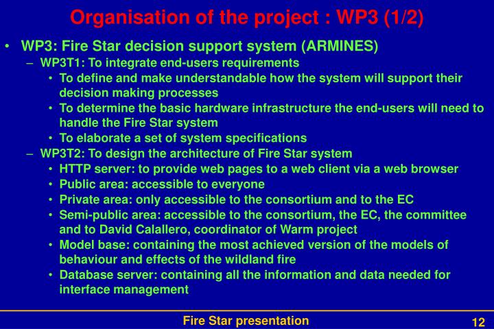 Organisation of the project : WP3 (1/2)