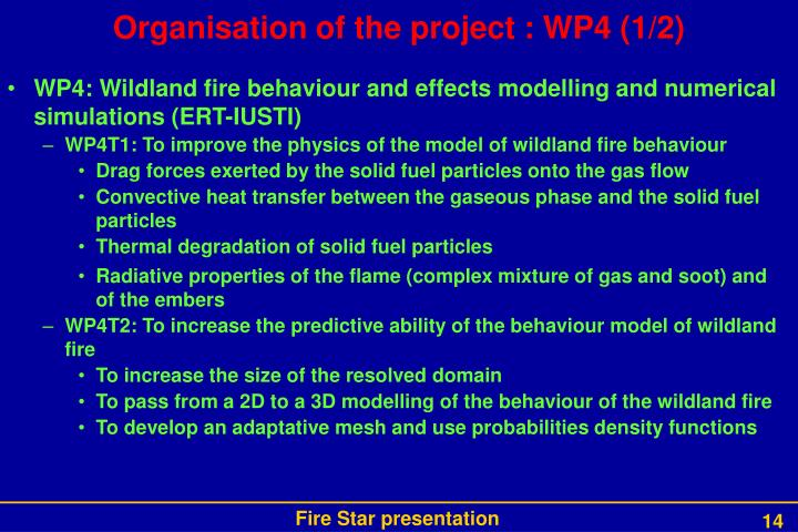 Organisation of the project : WP4 (1/2)