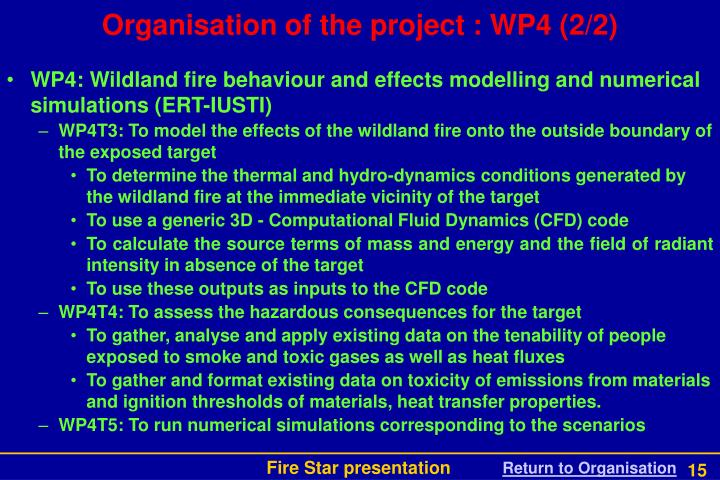 Organisation of the project : WP4 (2/2)