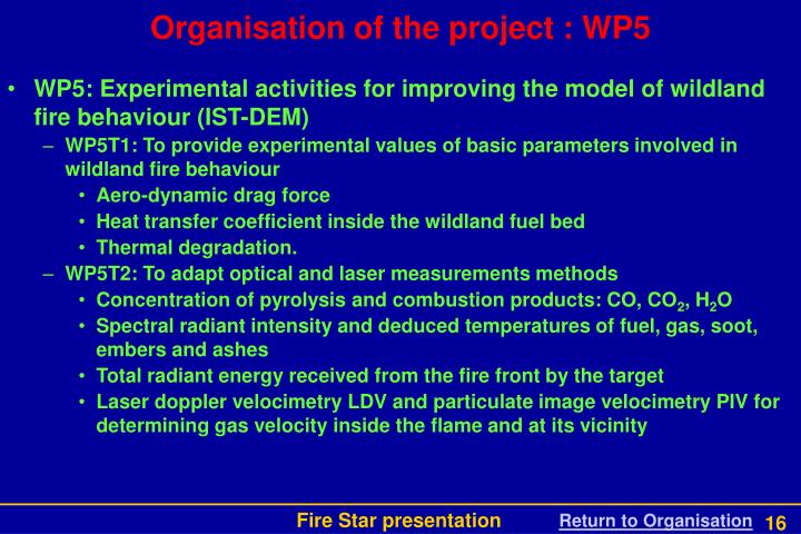 Organisation of the project : WP5
