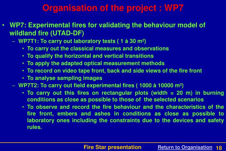 Organisation of the project : WP7