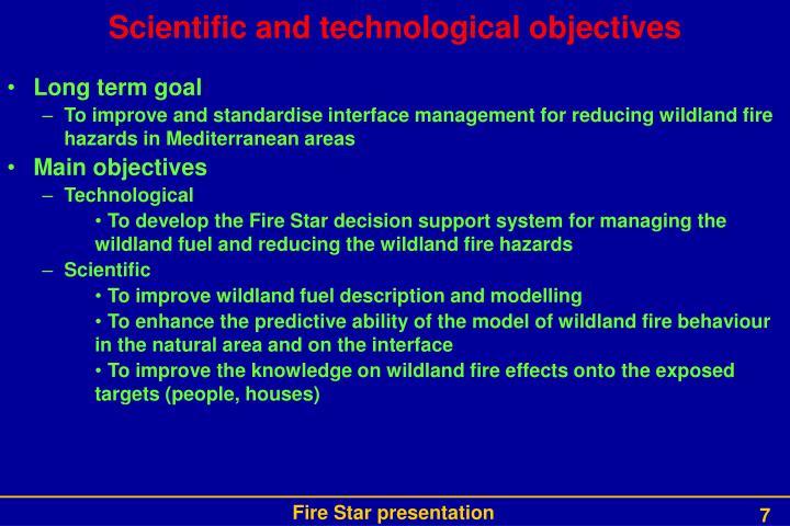Scientific and technological objectives