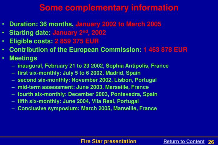 Some complementary information