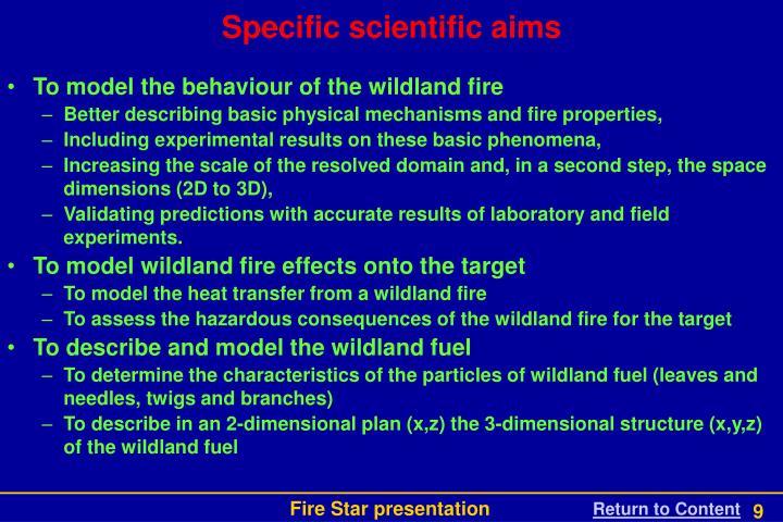 Specific scientific aims