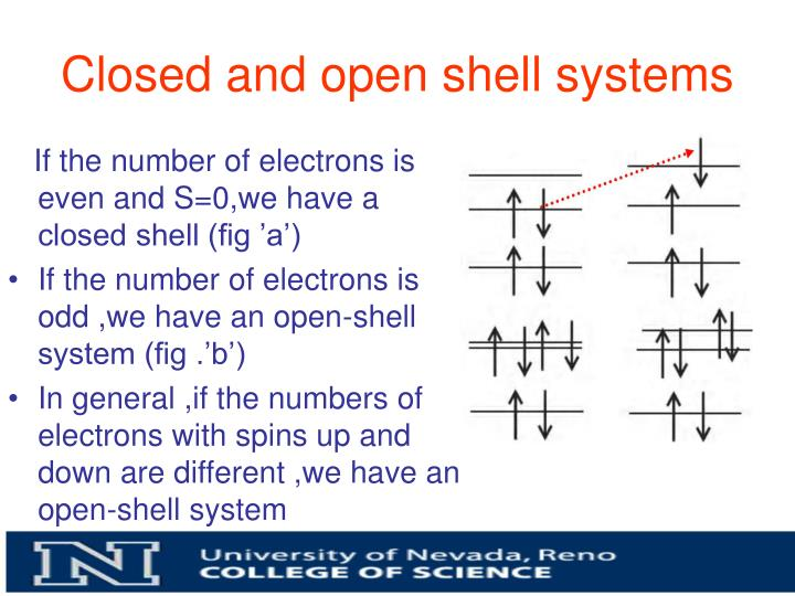 Closed and open shell systems