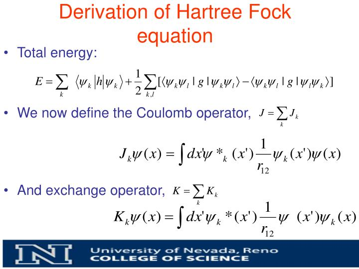 Derivation of Hartree Fock equation