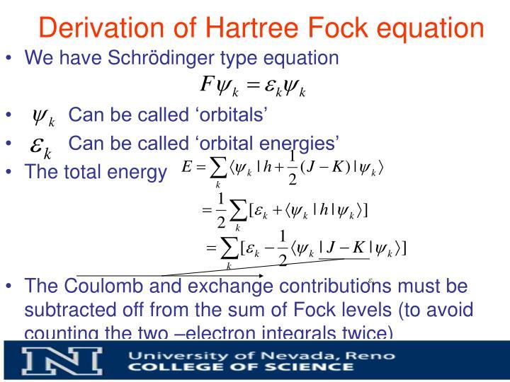 Derivation of Hartree Fock equation