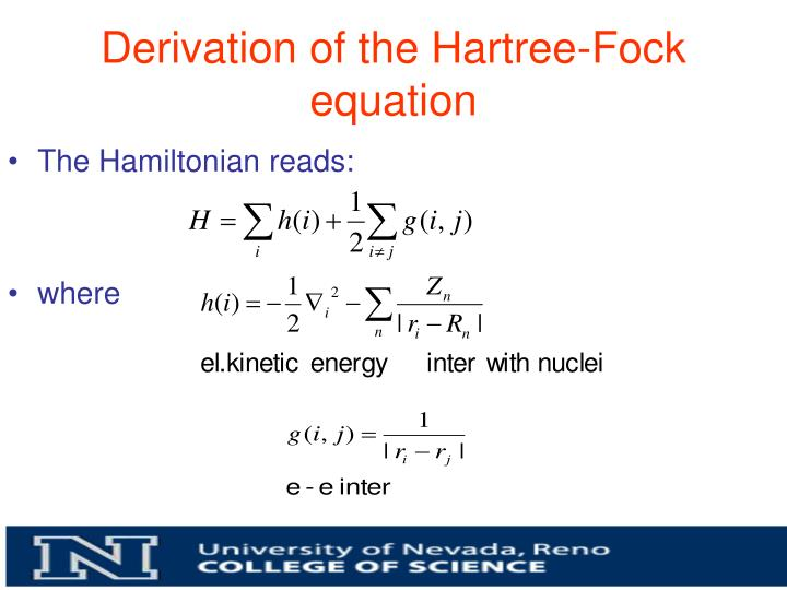 Derivation of the Hartree-Fock equation
