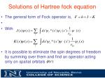 solutions of hartree fock equation1