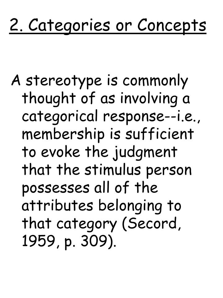 2. Categories or Concepts