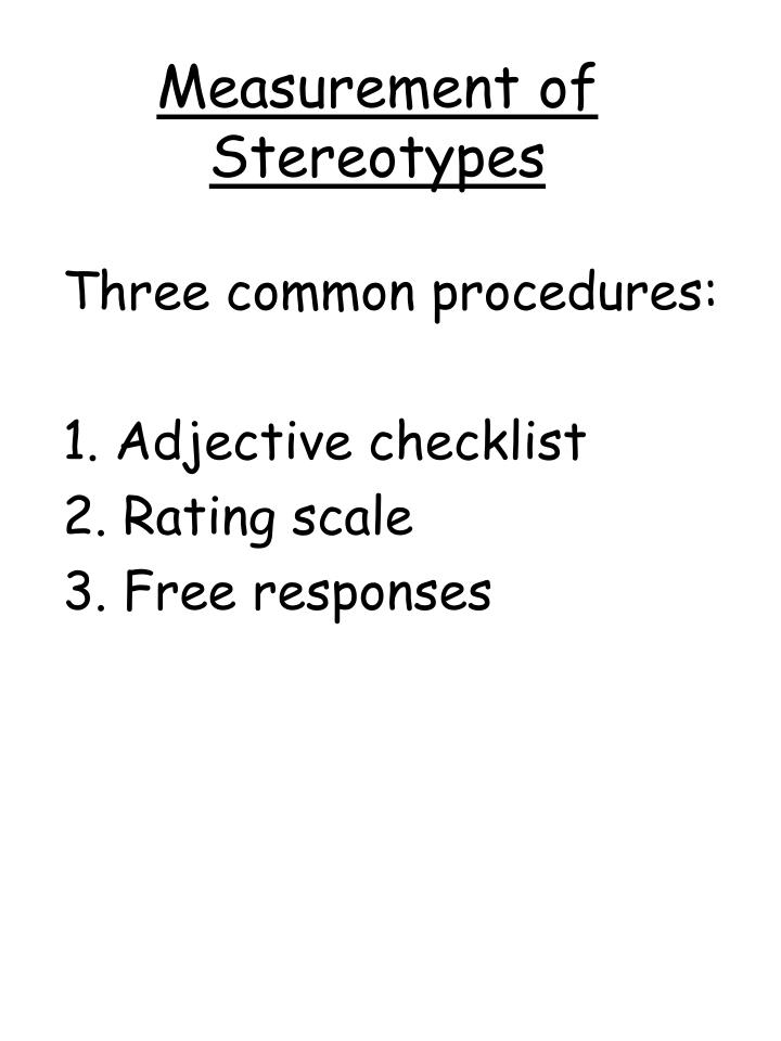Measurement of Stereotypes