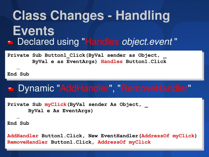 Class Changes - Handling Events