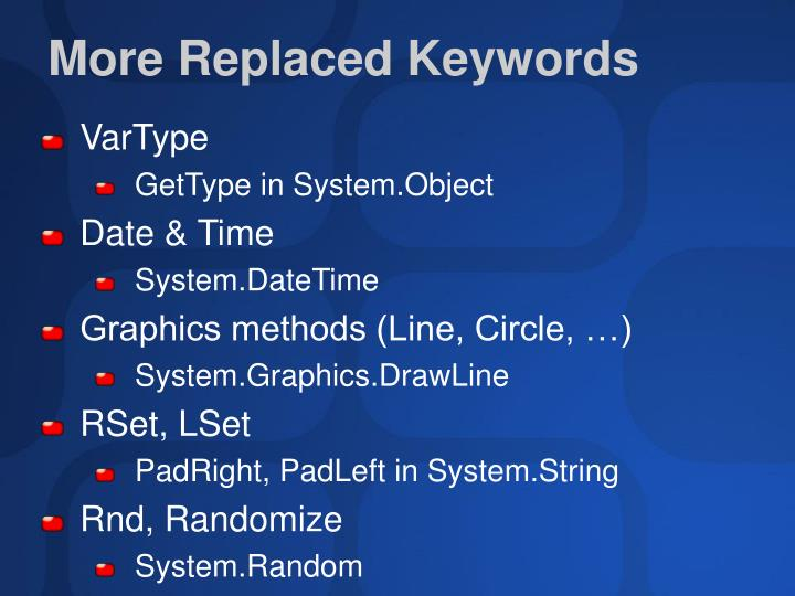 More Replaced Keywords
