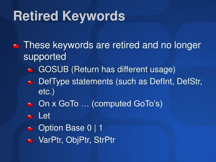 Retired Keywords