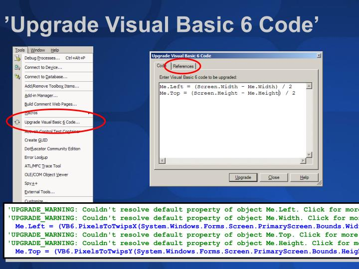 'Upgrade Visual Basic 6 Code'