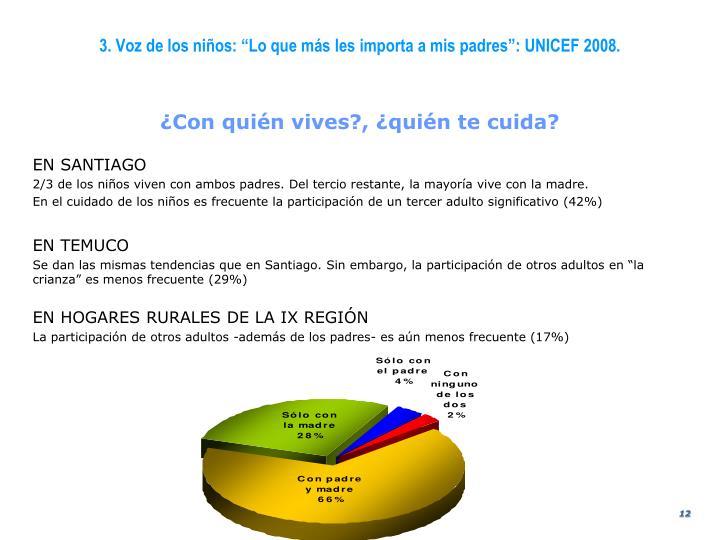 """3. Voz de los niños: """"Lo que más les importa a mis padres"""": UNICEF 2008."""