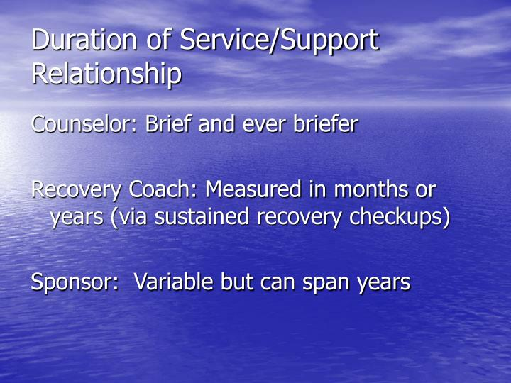 Duration of Service/Support Relationship