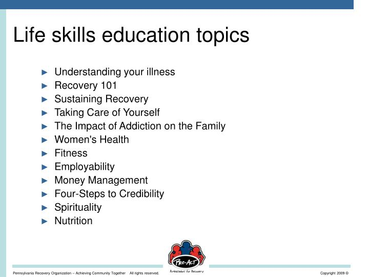 Life skills education topics
