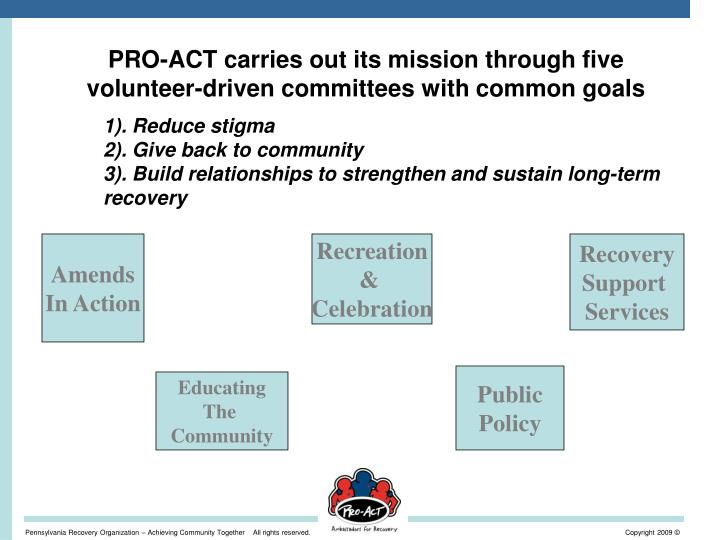 PRO-ACT carries out its mission through five