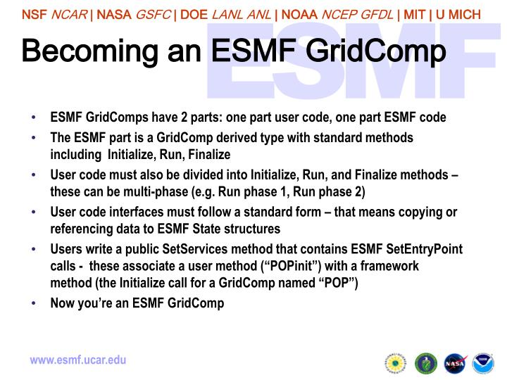 Becoming an ESMF GridComp
