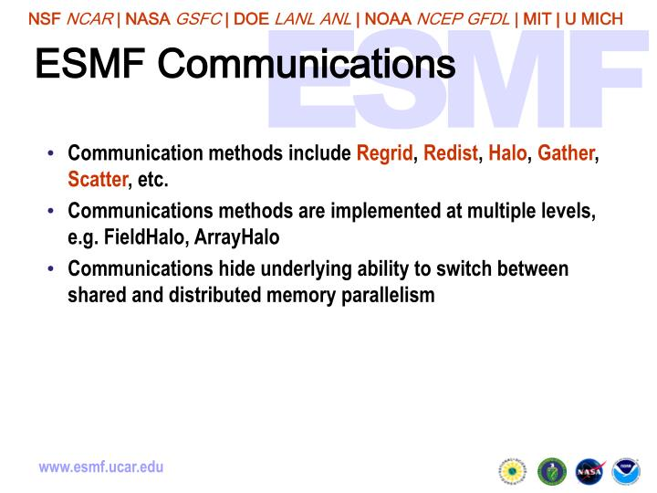 ESMF Communications