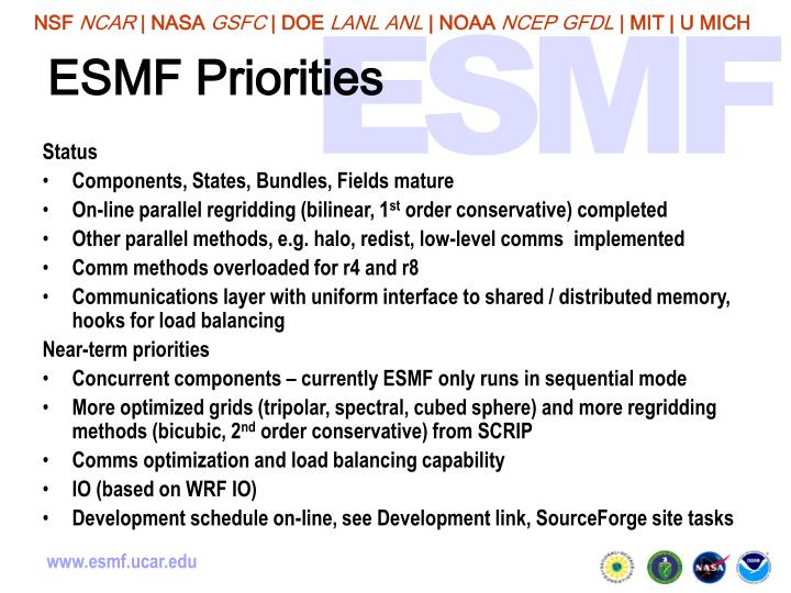 ESMF Priorities