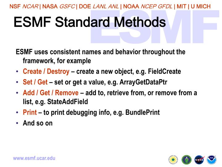 ESMF Standard Methods