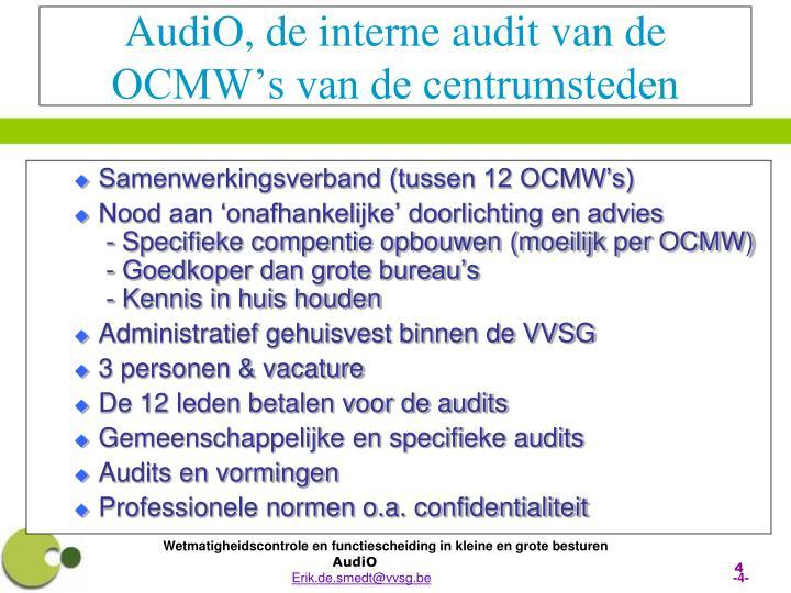 AudiO, de interne audit van de OCMW's van de centrumsteden
