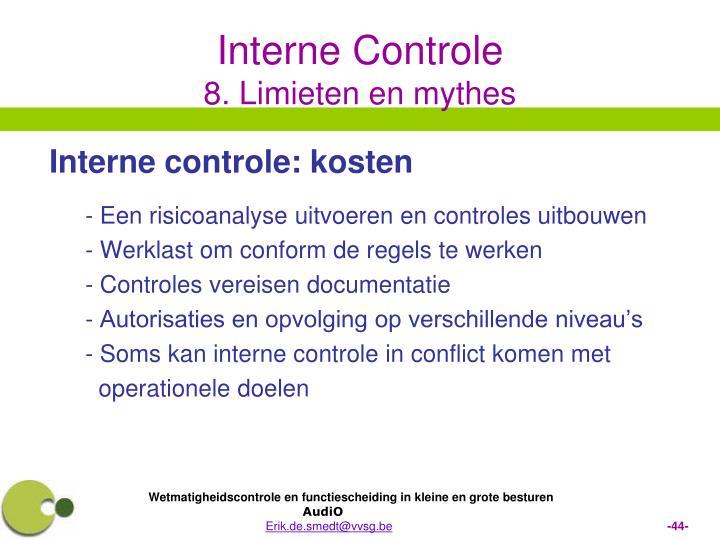 Interne controle: kosten