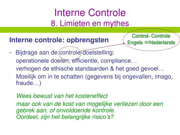 Interne controle: opbrengsten