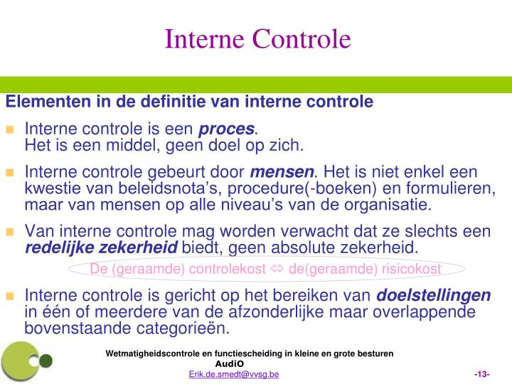 Elementen in de definitie van interne controle