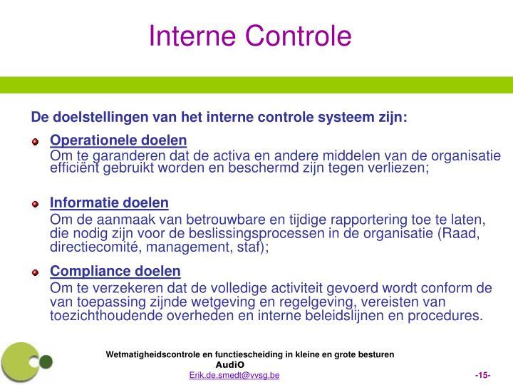 De doelstellingen van het interne controle systeem zijn: